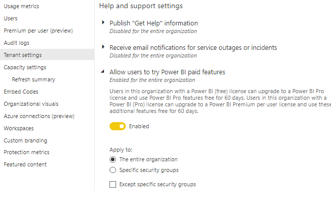 """Option """"Allow users to try Power BI paid features"""""""